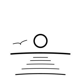 Sea with bird symbol