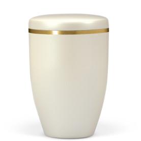 Atlant biourne, cremehvid perlemor, med guldkant 27401