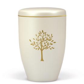 Atlant biourne, cremehvid perlemor, med træ og guldkant 27430