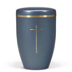 Atlant biourne, blå perlemor, med kors og guldkant 27490