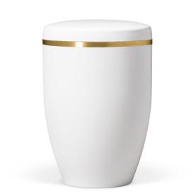 Atlant bio urne, hvit gloss, med gullbånd 27801