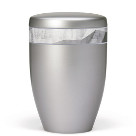 Atlant bio urne, stålgrå, dekorativt bånd med art, 27510